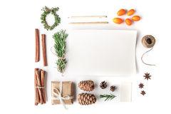 Set to create a Christmas card on the white background horizontal Stock Photography