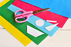 Set to create original summer card. Patterns for card making. Stationery. Scissors, set of colored paper, paper patterns. Shapes cut from colored paper Stock Photos