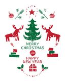 Merry Christmas and Happy New Year illustration. Set to festive new year and Christmas holidays Merry Christmas and Happy New Year winter Christmas symbols Stock Photo