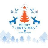 Merry Christmas and Happy New Year. Set to festive new year and Christmas holidays Merry Christmas and Happy New Year winter Christmas symbols: reindeer, sweater Royalty Free Stock Image