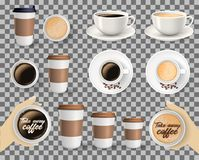 Set of coffee cups on transparent background. Set of to go and takeaway paper coffee cups in different sizes and coffee cups on saucers. Objects isolated on stock illustration