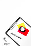 Set to judge competition. Yellow and red cards, stopwatch, whistle, pad on white background top view copyspace Royalty Free Stock Image