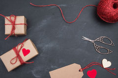 Set to needlework Day Valentine gifts in handmade design Royalty Free Stock Photos
