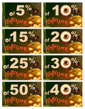 Set 5 to 50 percent discount Halloween. Sales pumpkin lantern, cobweb, old house and eye on dark background Stock Images