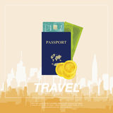 Set to travel. The plane, a passport with money. Stock Photography