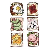 Set of toasts breakfast. Set of toasts breakfast on white background Royalty Free Stock Images