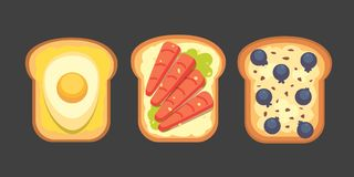 Set toasts and sandwich breakfast. Bread toast with jam, egg, cheese, blueberry, peanut butter, salami, fish. Flat. Set toasts and sandwich breakfast. Bread royalty free illustration