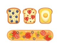 Set toasts and sandwich breakfast. Bread toast with jam, egg, cheese, blueberry, peanut butter, salami, fish. Flat. Vector illustration vector illustration