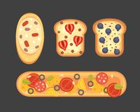 Set toasts and sandwich breakfast. Bread toast with jam, egg, cheese, blueberry, peanut butter, salami, fish. Flat. Vector illustration royalty free illustration