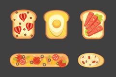 Set toasts and sandwich breakfast. Bread toast with jam, egg, cheese, blueberry, peanut butter, salami, fish. Flat. Vector illustration stock illustration