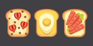 Set toasts and sandwich breakfast. Bread toast  Stock Photo