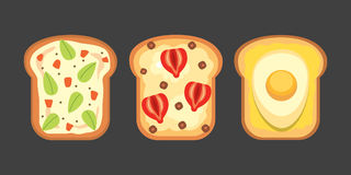 Set toasts and sandwich breakfast. Bread toast with jam, egg, cheese, blueberry, peanut butter, salami, fish. Flat. Set toasts and sandwich breakfast. Bread stock illustration