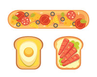 Set toasts and sandwich breakfast. Bread toast with jam, egg, cheese, blueberry, peanut butter, salami, fish. Flat. Set toasts and sandwich breakfast. Bread vector illustration