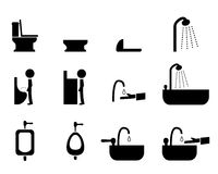 Set of toilet icons in silhouette style, vector Royalty Free Stock Images