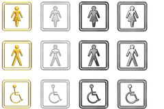 Set of toilet signs. Set of male, female and disabled toilet signs in gold and different shades of silver, isolated on white background royalty free illustration