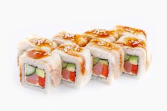 Set of Tokyo rolls on a white background. Appetizing set of rolls of Tokyo on a white background Royalty Free Stock Images