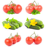 Set tomato and cucumber fruits Royalty Free Stock Images