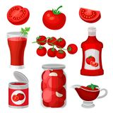 Flat vector set of tomato food and drinks. Healthy juice, ketchup and sauce, canned products. Natural and tasty products vector illustration