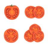 Set of tomatoes. Set of red ripe tomatoes, round tomato slices,  on white background, illustration Royalty Free Stock Images