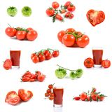 Set of tomatos and tomato juices Royalty Free Stock Image