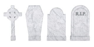 Set of tombstones isolated, 3D rendering Stock Photography