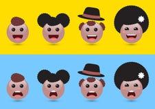 Set tomowa brown kobieta, mężczyzna, żartuje emoji Śmieszny wyraża soc Fotografia Stock