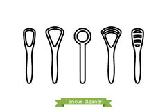 Set of tongue scraper or cleaner type - cartoon vector outline style Stock Photography