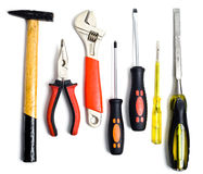 Set of tools. Isolated on white background Stock Photos