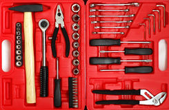Set of tools. Set tools in the red box stock photo