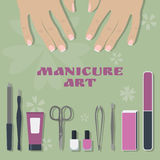 Set of tools and accessories for manicure and two female palms Royalty Free Stock Image