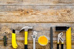 Set of tools for build and repair house on wooden background top view frame mock-up Stock Photos