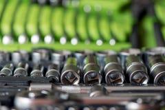 Set of tools for car repair in box Royalty Free Stock Photos
