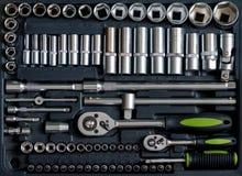 Set of tools for car repair in box Stock Photo