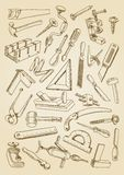 Set of tools for carpentry work Stock Images