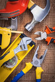 Set of tools claw hammer nippers pliers Royalty Free Stock Photos