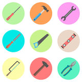 Set of tools in the colored circles. Vector illustration Royalty Free Stock Images