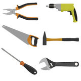 Set of tools for construction and repair. Pliers, drill, saw, screwdriver, wrench hammer Stock Photography