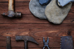А set of tools with a copy space isolated on wooden background Royalty Free Stock Image