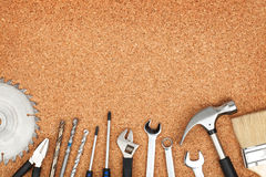 Set of tools on cork background Stock Photo