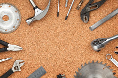 Set of tools on cork background Royalty Free Stock Photo