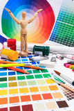 A set of tools for creative art work with abstract colored palette guide. Royalty Free Stock Photos