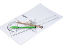 Set of tools for drawing. Protractor, pen, pencil, rules and workbook page Stock Image