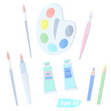 A set of tools for drawing. Brushes, palette, pencils and tubes of colors Royalty Free Stock Photos