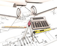 Set of tools in the drawings of the architect. 3d render image Stock Photography