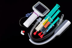 Set of tools and drugs for intubation Stock Photo