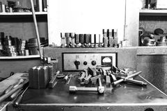Set of tools and equipment lathe machine tool Royalty Free Stock Photography