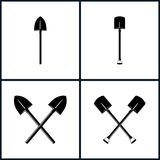 Set of Tools for Excavation. Set  of Tools for Excavation, Isolated, Shovel, Two  Crossed Shovels, Black and White Vector Illustration Royalty Free Stock Photos