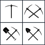 Set of Tools for Excavation. Set  of Tools for Excavation, Isolated, Two Crossed Pickaxes, Crossed Shovel and Pickaxe,  Pickaxe or Pick, Hand Tool with a Hard Royalty Free Stock Photography