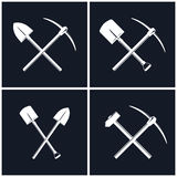 Set of Tools for Excavation and Percussion Works Royalty Free Stock Photos