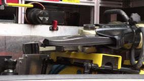 Set of tools in the fire truck. A set of tools and fixtures in the fire truck stock video footage